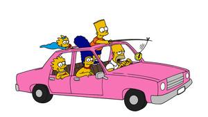 Familia Simpson en el coche