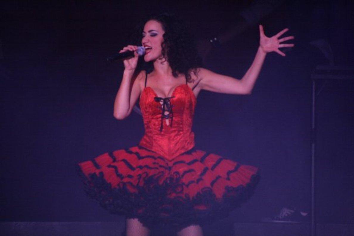 Eva María Cortés, durante su intervención en el musical Fama.