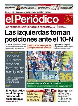 La portada d'EL PERIÓDICO del 29 de setembre del 2019