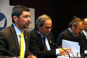 Canadell, Torra y el presidente del Racc, Josep Mateu.