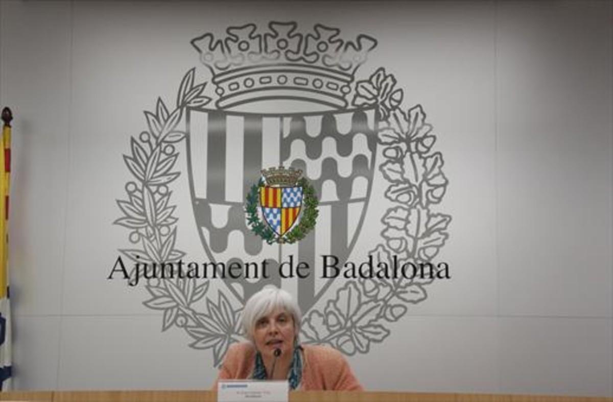La alcaldesa de Guanyem Badalona en Comú, Dolors Sabater, ayer.
