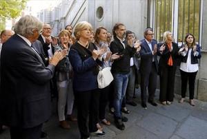 Apoyo soberanista a Homs, ayer en Madrid.