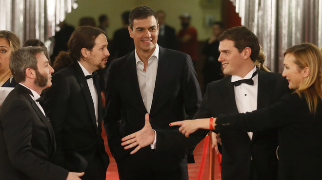 Los líderes de PSOE, Podemos yCiudadanos asistieron a la gala.