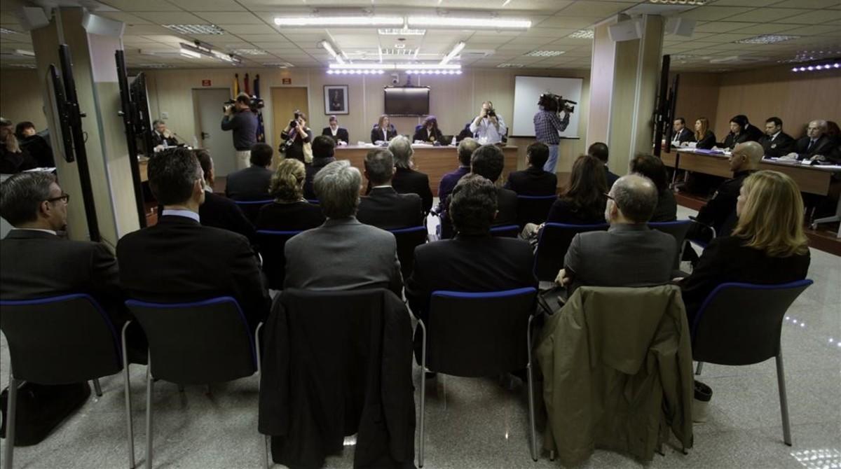 El banquillo de los acusados del juicio del 'caso Nóos'.