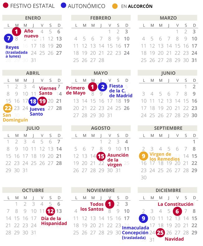 Calendario Laboral Madrid 2020 Excel.Calendario Laboral Alcorcon 2019 Con Todos Los Festivos