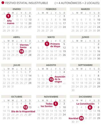 Calendario laboral de España del 2019 (con todos los festivos)
