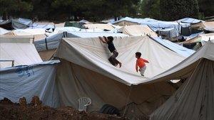 Vista del campo de refugiados deRitsona, situado en el norte de Atenas.