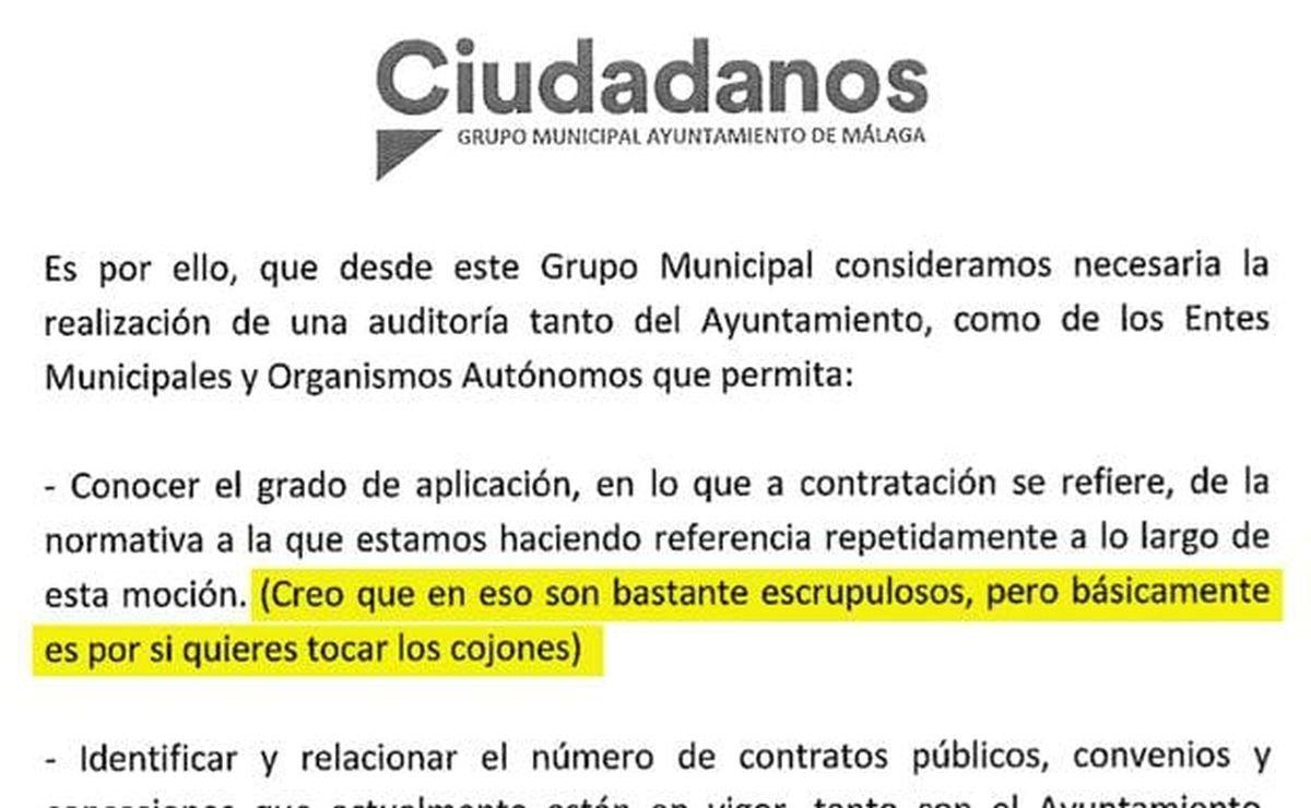 Extracto de la iniciativa registrada por el grupo municipal de Ciudadanos en el Ayuntamiento de Málaga.