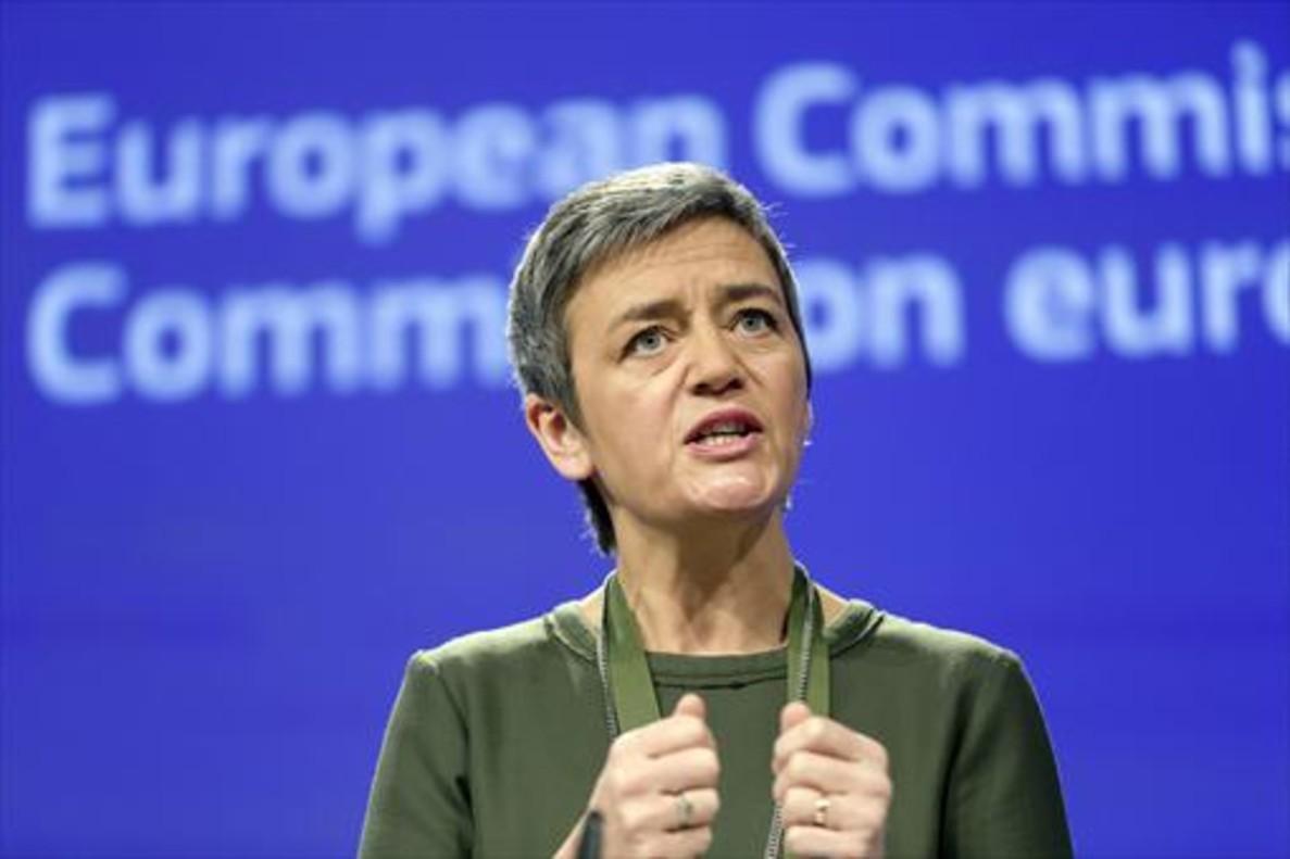 La comisaria europea de la Competencia, Margrethe Vestager, durante una rueda de prensa en Bruselas.