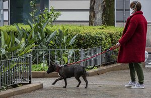 Una mujer con mascarilla pasea a su perro.