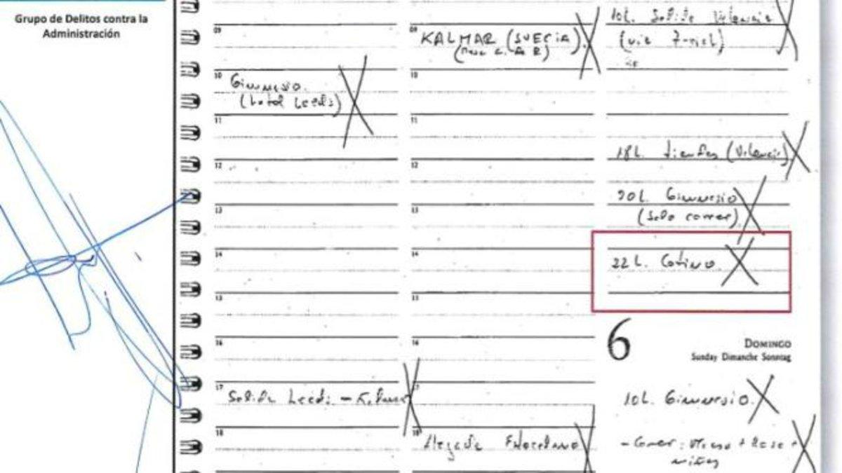 Documento con el que la Guardia Civil acredita 20 años de actividad criminal de Zaplana y Cotino a la sombra del PP.