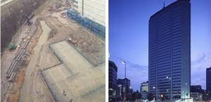 Estado actual de los terrenos en los que se ubicará la sede de la Agencia Europea del Medicamento en Ámsterdam, a la izquierda, e imagen de la Torre Pirelli, la sede ofrecida por Milán, a la derecha.