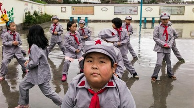 Estudiants de l'escola primària de Yang Dezhi ExèrcitRoig,ala província de Guizhou(Xina).