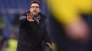 Eusebio di Francesco, en el Roma-Shakhtar de los octavos de final de la Champions.