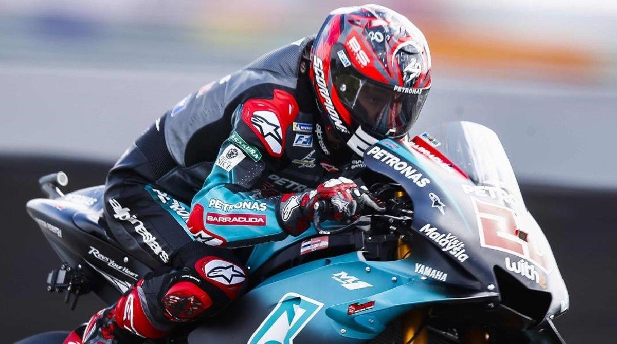 El francés Fabio Quartararo (Yamaha), en su vuelta de récord, hoy, en Assen (Holanda).