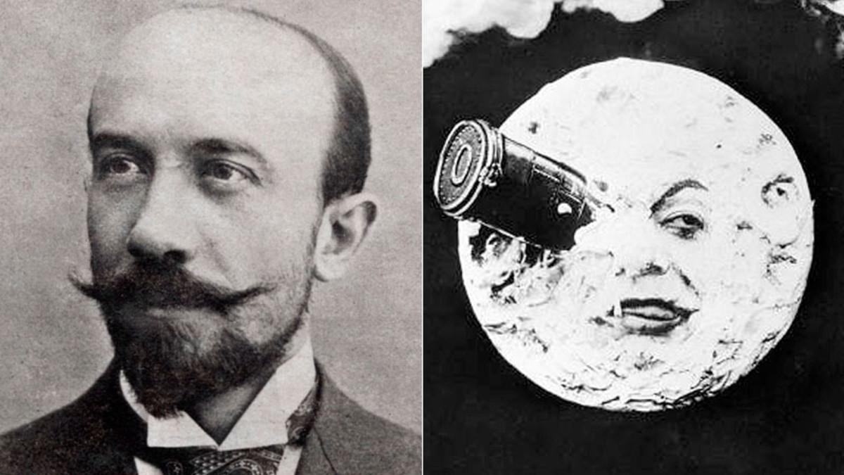 Georges Méliès, junto a una imagen de su emblemática Viaje a la Luna.