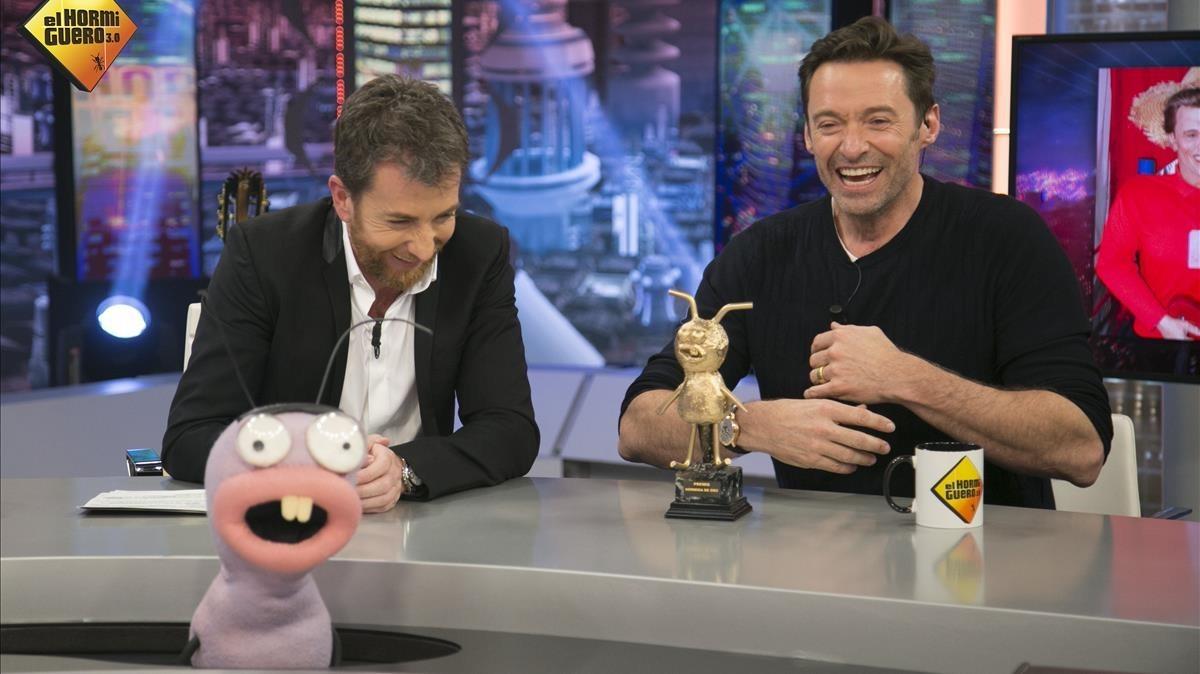 Hugh Jackman, junto a Pablo Motos, enEl hormiguero de Antena3.