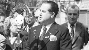 Hilari Salvadó, durante su discurso en la Diada de 1938.