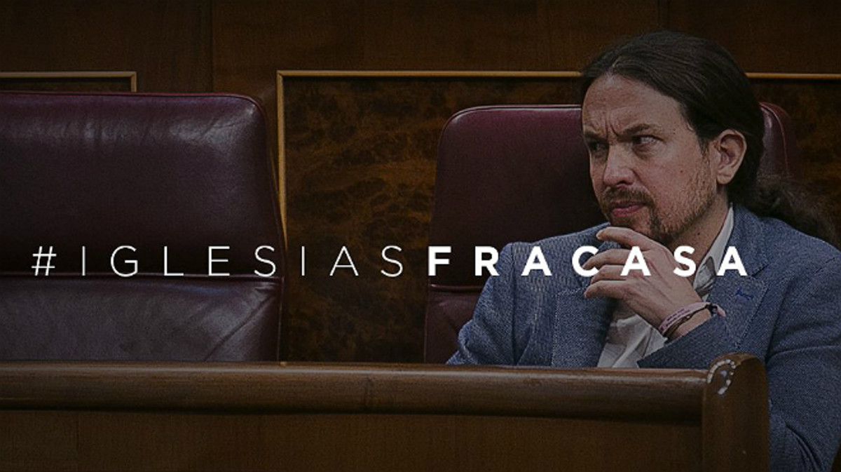 Imagen de la campaña #Iglesiasfracasa en Twitter.