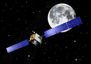 Imagen del explorador Smart 1 orbitando alrededor de la luna.