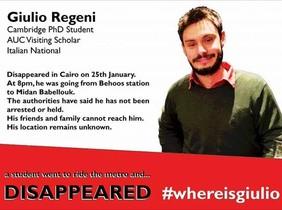 Imagen del joven Regeni colgada en internet denunciando su desaparición en El Cairo