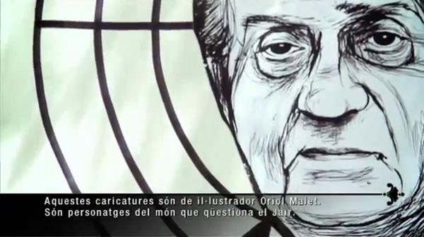 Fragmento del programa 'Bestiari il·lustrat' en el que Jair Domínguez hace prácticas de tiro con una caricatura del Rey.
