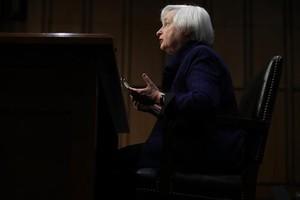 Janet Yellen, durante su comparecencia ante el Congreso, ayer, en Washington.