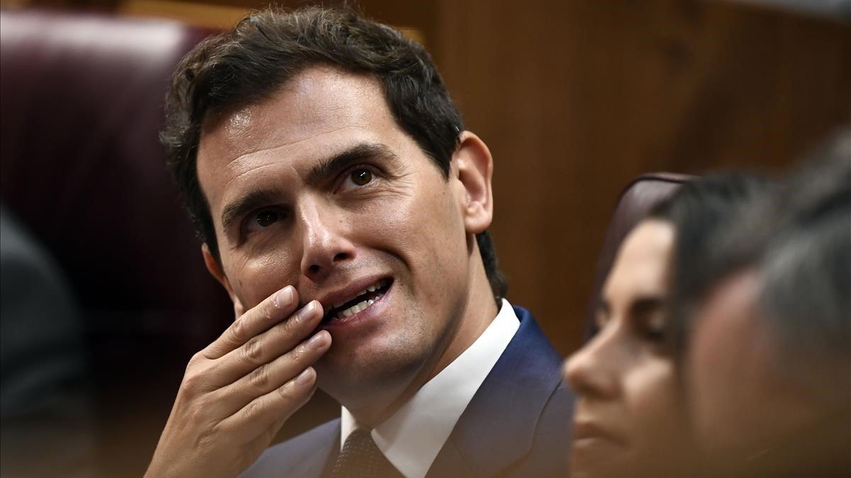 El líder de Ciudadanos, Albert Rivera, en el debate de investidura.