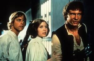 Los actores Mark Hamill, Carrie Fisher y Harrison Ford como Luke Skywalker, princesa Leia y Han Solo.