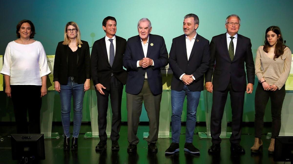 Los candidatos a la alcaldía de BarcelonaAda Colau (BC), Elsa Artadi (JxCat), Manuel Valls (Cs), Ernest Maragall, Jaume Collboni, Josep Bou y Anna Saliente (CUP), el pasado 25 de abril.
