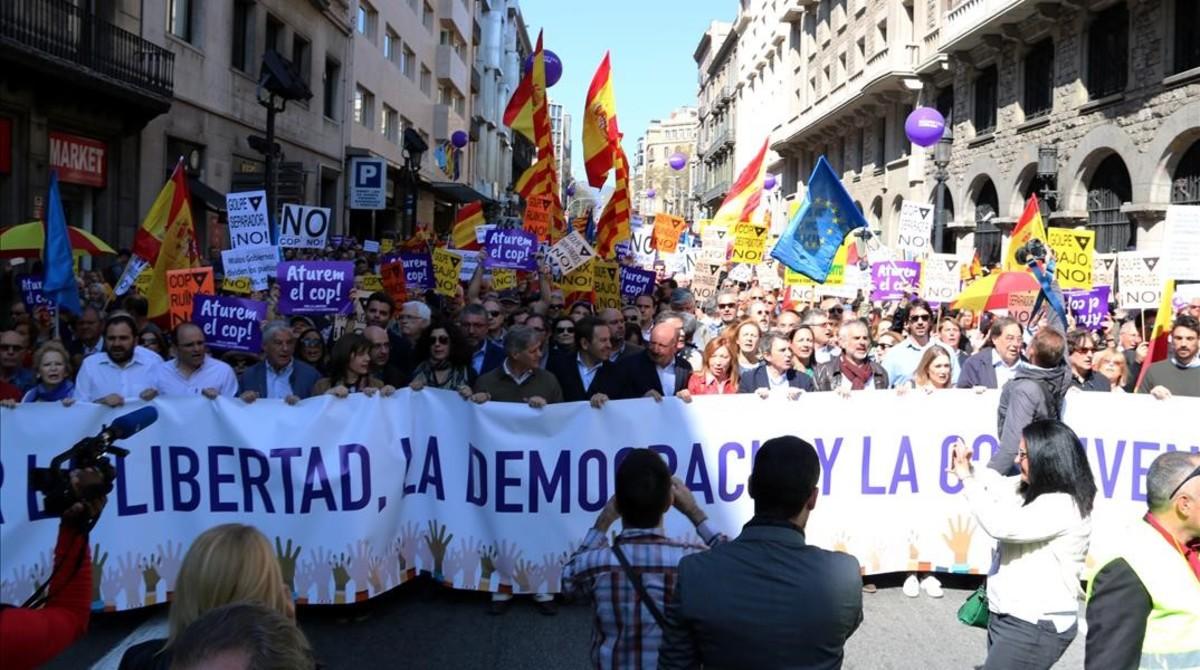 Manifestación de Societat Civil Catalana del pasado 19 de marzo de 2017.