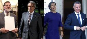 Mariano Rajoy, Artur Mas, Soraya Sáenz de Santamaría e Íñigo Urkullu.