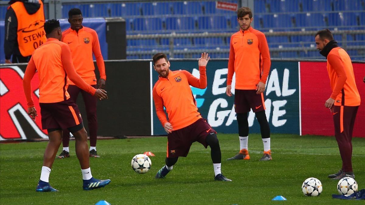 Messi, en el entrenamiento del Barça en el Estadio Olímpico de Roma.