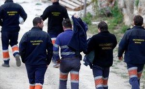 Mineros del equipo de rescate del niño Julen en Totalán.