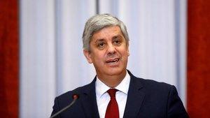 El ministro de Hacienda de Portugal, Mario Centeno, durante una rueda de prensa en Lisboa.