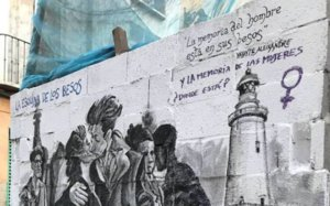 Un dibujante se autocensura y borra su obra tras una pintada feminista que respondía a un verso de Aleixandre