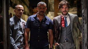Nene, Isak Férriz y Daniel Grao, en la segunda temporada de Gigantes.