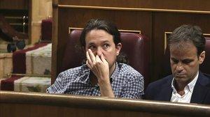 Pablo Iglesias, en el debate de investidura de Pedro Sánchez.
