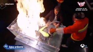 Pablo Motos socorriendo en directo al buzo de un experimento de 'El hormiguero'.
