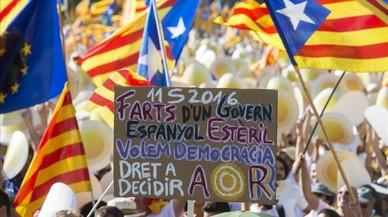 Pancarta reivindicativa por la independencia de Catalunya, en una manifestación de Barcelona.