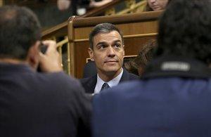 Pedro Sánchez, en el segundo día del debate de investidura.