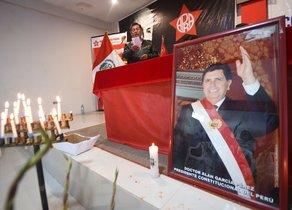 Los honores fúnebres al expresidente peruano Alan García.