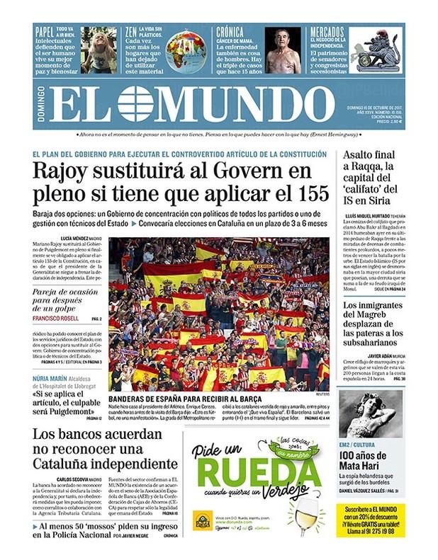Rajoy sustituirá al Govern en pleno si aplica el 155, dice El Mundo