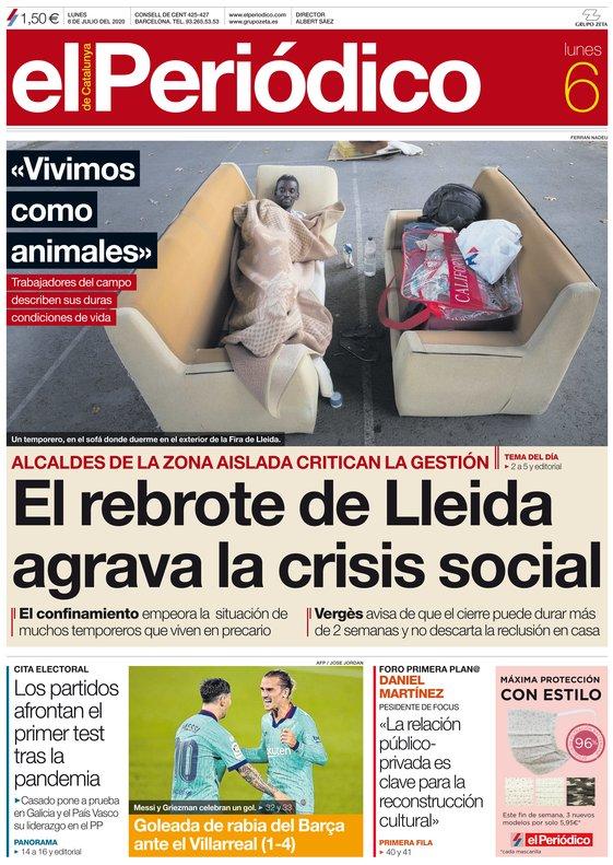 La portada de EL PERIÓDICO del 6 de julio del 2020
