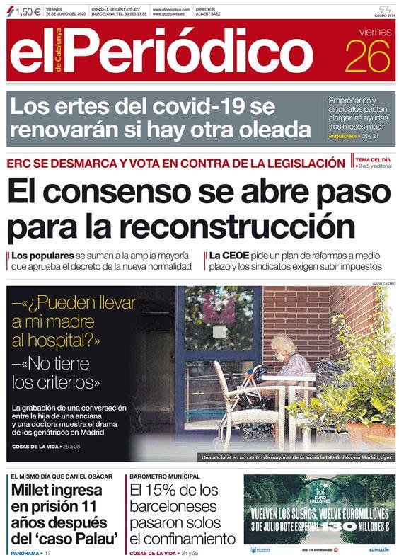 La portada de EL PERIÓDICO del 26 de junio del 2020.