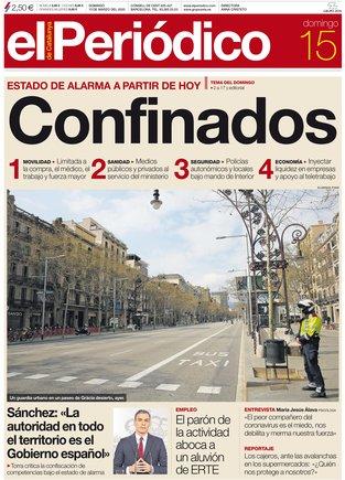 La portada de EL PERIÓDICO del 15 de marzo del 2020.