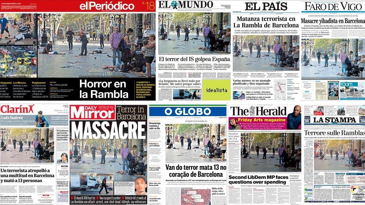 Portadas de diarios que reprodujeron la fotografía del atentado del 17 de agosto en Barcelona premiada con el Ortega y Gasset.