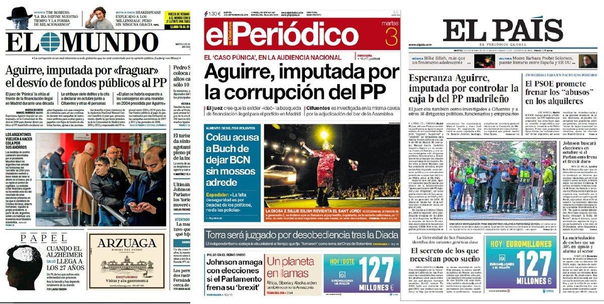 Prensa de hoy: Las portadas de los periódicos del martes 3 de septiembre del 2019
