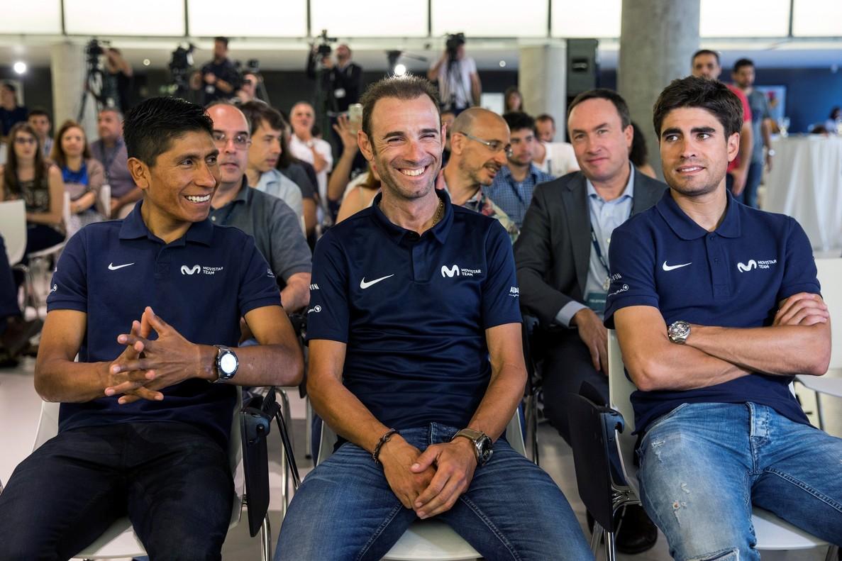 Nairo Quintana, Alejandro Valverde y Mikel Landa, en Madrid.