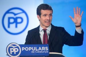 El presidente del PP, Pablo Casado, en rueda de prensa tras presidir en Barcelona la primera reunión del Comité Ejecutivo Nacional de su partido, el 26 de julio.